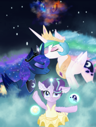Size: 4200x5550 | Tagged: safe, artist:lifes-remedy, daybreaker, nightmare moon, princess celestia, princess luna, starlight glimmer, alicorn, pony, a royal problem, absurd resolution, ballerina, clothes, crown, female, glimmerina, jewelry, magic, mare, regalia, royal sisters, sibling love, siblings, sisterly love, sisters, swapped cutie marks