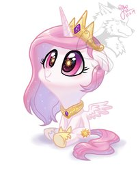 Size: 1024x1249 | Tagged: safe, artist:ogre, princess celestia, alicorn, pony, cewestia, crown, cute, female, filly, jewelry, peytral, pink-mane celestia, regalia, sitting, solo, spread wings, watermark, wings, younger