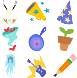 Size: 7859x8001   Tagged: safe, artist:lahirien, frying pan (character), horseshoe comet, polo play, power chord, whirlwind romance, viva las pegasus, absurd resolution, cutie mark, cutie mark only, las pegasus resident, no pony, trapeze director, vector