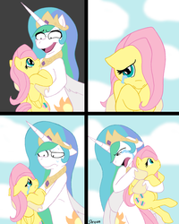 Size: 1028x1282 | Tagged: safe, artist:skoon, fluttershy, princess celestia, pony, princess molestia, comic, crying, cute, daaaaaaaaaaaw, eye contact, floppy ears, frown, hug, incorruptible pure pureness, looking at each other, open mouth, shyabetes, smiling, sweat, wide eyes