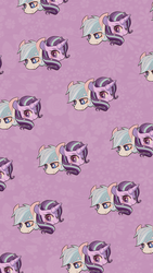 Size: 1080x1920 | Tagged: safe, artist:phyllismi, double diamond, starlight glimmer, earth pony, pony, unicorn, blushing, female, glimmerdiamond, male, shipping, straight, tiled background, wallpaper
