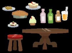 Size: 1800x1317   Tagged: safe, artist:korikian, apple, apple fritter (food), apple pie, beverage, bottle, cup, cupcake, food, juice, no pony, orange juice, pie, resource, simple background, stool, table, transparent background, vector