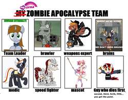 Size: 1073x843 | Tagged: safe, oc, oc only, oc:blackjack, oc:calamity, oc:littlepip, oc:rampage, oc:steelhooves, oc:velvet remedy, earth pony, pegasus, pony, unicorn, zebra, fallout equestria, armor, barbed wire, clothes, cowboy hat, dashite, enclave armor, fanfic, fanfic art, female, fluttershy medical saddlebag, flying, gun, hat, hooves, horn, madoka kaname, magical girl, male, mare, medical saddlebag, one of these things is not like the others, open mouth, pipbuck, power armor, puella magi madoka magica, raised hoof, saddle bag, sky bandit, smiling, spread wings, stallion, steel ranger, vault suit, weapon, wings, zombie apocalypse team