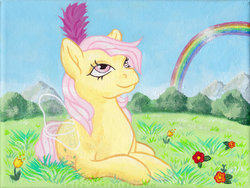 Size: 600x452 | Tagged: safe, artist:emfen, rosedust, flutter pony, pony, g1, acrylic painting, canvas, female, nature, queen rosedust, traditional art