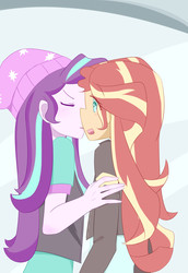 Size: 2370x3444 | Tagged: safe, artist:yuck, starlight glimmer, sunset shimmer, equestria girls, mirror magic, spoiler:eqg specials, clothes, eyes closed, female, jacket, kissing, leather jacket, lesbian, shimmerglimmer, shipping