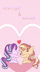 Size: 690x1227 | Tagged: safe, artist:yuck, starlight glimmer, sunset shimmer, pony, unicorn, female, lesbian, shimmerglimmer, shipping