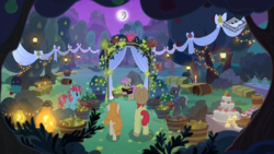 Size: 1024x576 | Tagged: safe, screencap, bright mac, burnt oak, cup cake, mayor mare, pear butter, pony, the perfect pear, apple tree, boomerang (tv channel), brightbutter, chiffon swirl, female, male, mare in the moon, marriage, moon, night, non-dyed mayor, pear tree, shipping, straight, tree, wedding, younger