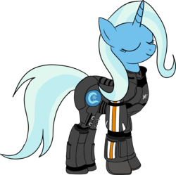 Size: 3075x3060 | Tagged: safe, artist:sethisto, trixie, pony, unicorn, armor, crossover, female, mare, mass effect, mass effect 3, n7, n7 armor, newbie artist training grounds, simple background, solo, transparent background, vector