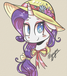 Size: 2188x2478 | Tagged: safe, artist:littlefish101, rarity, pony, alternate hairstyle, beautiful, blushing, bow, bust, clothes, cute, dress, elegant, hair bow, hat, portrait, raribetes, simple background, smiling, solo, starry eyes, sun hat, wingding eyes