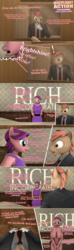 Size: 1280x4335 | Tagged: 3d, anthro, artist:moorsheadfalling, breasts, comic, dialogue, explicit, oc, oc:brightshine, spoiled rich, text, undressing
