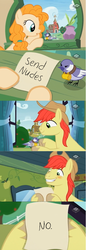 Size: 1300x3772 | Tagged: safe, artist:ceejayponi, edit, edited screencap, screencap, bright mac, pear butter, earth pony, pony, the perfect pear, blushing, bright mac's letter, brightbutter, chickadee (bird), female, male, meme, screencap comic, send nudes, shipping, smiling, straight, we don't normally wear clothes