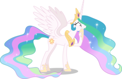 Size: 5000x3233 | Tagged: safe, artist:dashiesparkle, princess celestia, alicorn, pony, celestial advice, .svg available, absurd resolution, crown, female, jewelry, mare, overreacting, regalia, simple background, solo, transparent background, vector, worried