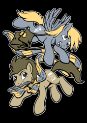 Size: 595x842 | Tagged: safe, artist:drawponies, derpy hooves, doctor whooves, time turner, earth pony, pegasus, pony, clothes, doctor who, duo, female, fourth doctor's scarf, male, mare, scarf, smiling, sonic screwdriver, stallion, the doctor