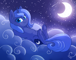 Size: 1920x1536 | Tagged: safe, artist:dsp2003, princess luna, alicorn, pony, belly button, cloud, crescent moon, cute, female, filly, frog (hoof), looking at you, lunabetes, moon, night, s1 luna, smug, solo, starry sky, stars, underhoof, woona, younger