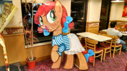 Size: 1280x721 | Tagged: safe, pony, cardboard cutout, mascot, photo, ponified, wendy's, wendy's con