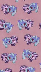 Size: 1080x1920 | Tagged: safe, artist:phyllismi, starlight glimmer, trixie, pony, unicorn, cute, diatrixes, glimmerbetes, one eye closed, tiled background, wallpaper, wink
