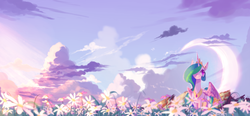 Size: 2560x1184 | Tagged: dead source, safe, artist:gianghanz, princess celestia, alicorn, pony, cloud, crescent moon, female, flower, hair over one eye, mare, meadow, moon, scenery, sky, smiling, solo