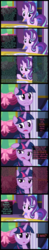 Size: 1000x5060 | Tagged: safe, edit, edited screencap, screencap, starlight glimmer, twilight sparkle, alicorn, no second prances, absurd resolution, bow, curtains, dialogue, dining room, discussion, fork, friendship, headcanon, knife, mountain, mural, pillar, plate, ribbon, screencap comic, silverware, spoon, table, talking, text, theory, twilight sparkle (alicorn), twilight's castle, wall of text