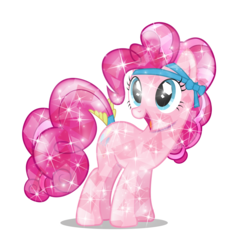 Size: 3657x3840   Tagged: safe, artist:infinitewarlock, pinkie pie, crystal pony, pony, alternate hairstyle, crystallized, female, high res, simple background, solo, sparkling, transparent background