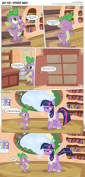 Size: 3300x6812 | Tagged: safe, artist:perfectblue97, spike, twilight sparkle, dragon, earth pony, pony, comic:without magic, absurd resolution, blank flank, book, bookshelf, clothes, comic, dirty, earth pony twilight, fart, fart noise, golden oaks library, onomatopoeia, poster, sound effects