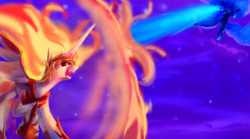 Size: 2000x1111 | Tagged: safe, artist:discorded, daybreaker, nightmare moon, alicorn, pony, a royal problem, blast, duo, epic, fangs, female, fight, magic, magic blast, mare, sisters, smiling