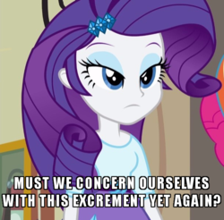 Size: 610x600 | Tagged: safe, edit, edited screencap, screencap, rarity, equestria girls, friendship games, cropped, fire hydrant, image macro, lidded eyes, looking at you, meme, not this shit again, rarity is not amused, sesquipedalian loquaciousness, sophisticated as hell, unamused