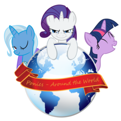 Size: 640x640 | Tagged: equestria daily, eyes closed, looking at you, one eye closed, ponies around the world, rarity, safe, simple background, smiling, transparent background, trixie, twilight sparkle, unicorn, unicorn master race, wink