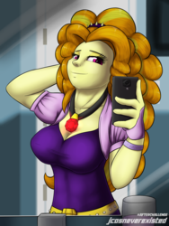 Size: 2400x3200 | Tagged: safe, artist:jcosneverexisted, adagio dazzle, equestria girls, bathroom, breasts, busty adagio dazzle, cellphone, clothes, collar, female, looking at you, phone, selfie, smartphone, solo