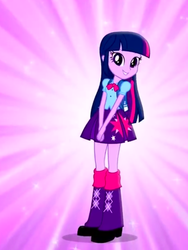 Size: 1536x2048 | Tagged: alicorn, backpack, boots, bowtie, clothes, commercial, equestria girls, looking at you, magic of friendship (equestria girls), music video, purple background, safe, simple background, skirt, twilight sparkle, twilight sparkle (alicorn)