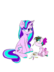 Size: 600x800 | Tagged: artist:doodletheexpoodle, clothes, female, mother and daughter, oc, oc:pocket watch, parent:doctor whooves, parents:starwhooves, parent:starlight glimmer, pony, safe, simple background, starlight glimmer, tutu, unicorn, white background