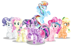 Size: 7087x4606 | Tagged: absurd res, applejack, artist:infinitewarlock, crystallized, crystal pony, fluttershy, mane six, pinkie pie, rainbow dash, rarity, safe, simple background, transparent background, twilight sparkle