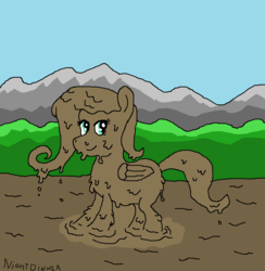 Size: 997x1022 | Tagged: artist:amateur-draw, downvotes incoming, fluttershy, ms paint, mud, muddy, safe, wam, wet and messy