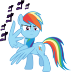 Size: 3000x3061 | Tagged: ゴ ゴ ゴ, artist:ambassad0r, jojo pose, jojo's bizarre adventure, menacing, pony, rainbow dash, safe, simple background, transparent background, vector, wing hands