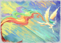 Size: 1375x972 | Tagged: safe, artist:plainoasis, princess celestia, alicorn, pony, female, flying, long tail, looking back, mare, painting, solo, spread wings, wings