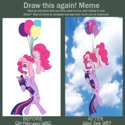 Size: 3000x3000 | Tagged: alicorn, artist:squipycheetah, before and after, cute, draw this again, female, improvement, lesbian, pinkie pie, redraw, safe, shipping, twilight sparkle, twilight sparkle (alicorn), twinkie