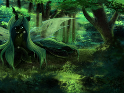Size: 7200x5400 | Tagged: safe, artist:foughtdragon01, queen chrysalis, changeling, changeling queen, absurd resolution, fangs, female, forest, grass, log, prone, scenery, smiling, solo