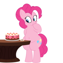 Size: 7000x7000 | Tagged: absurd res, artist:andelai, artist:besttubahorse, bipedal, cake, chubby, earth pony, fat, female, food, large ass, pinkie pie, pudgy pie, safe, simple background, solo, solo female, table, transparent background, vector, wide hips