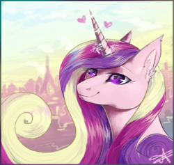 Size: 850x806 | Tagged: artist:lunarkisa, crystal castle, love heart, princess cadance, safe, solo