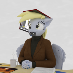 Size: 1000x1000 | Tagged: 3d, anthro, artist:tahublade7, blazer, business, clothes, coffee, computer, daz studio, derpy hooves, desk, hat, laptop computer, mouse, safe, silly, turtleneck, tutorial