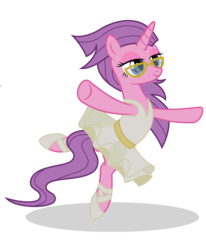 Size: 3800x4606 | Tagged: artist:grypher, ballerina, clothes, derpibooru exclusive, glasses, idw, idw showified, masked matter-horn, missing accessory, power ponies, safe, simple background, solo, transparent background, tutu, vector