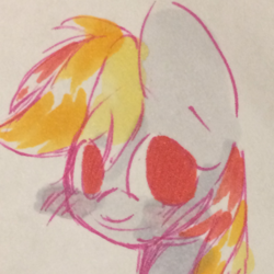 Size: 1024x1024 | Tagged: safe, artist:chelsie, artist:tridashie, pony, cute, paper, solo, traditional art