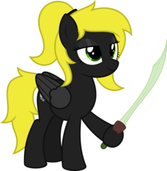 Size: 6400x6555 | Tagged: safe, artist:parclytaxel, oc, oc only, oc:veen sundown, pegasus, pony, .svg available, absurd resolution, female, hairband, hoof hold, lidded eyes, mare, ponytail, simple background, smiling, solo, sundown clan, sword, transparent background, vector, weapon