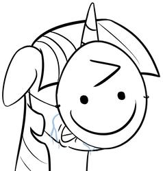Size: 600x631   Tagged: safe, artist:yukkuripalehorse, twilight sparkle, pony, ^:), angry, bust, crying, emoticon face, lineart, mask, meme, metaphor, paper-thin disguise, portrait, reaction image, sad, simple background, spy, white background, wojak