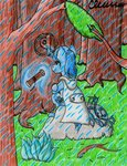 Size: 1024x1333 | Tagged: safe, artist:the1king, oc, oc only, crab, pony, broken horn, cancer (horoscope), cloak, clothes, forest, rain, sitting, solo
