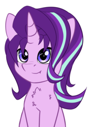 Size: 1404x1976 | Tagged: artist:duop-qoub, bust, chest fluff, cute, female, glimmerbetes, looking at you, mare, pony, safe, simple background, sitting, smiling, solo, starlight glimmer, unicorn, white background