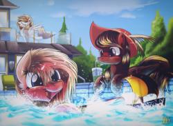 Size: 1500x1100 | Tagged: safe, artist:ruhisu, oc, oc only, bat pony, pegasus, pony, commission, eyes closed, female, hat, house, mare, prone, raised hoof, sky, smiling, swimming pool, trio, water