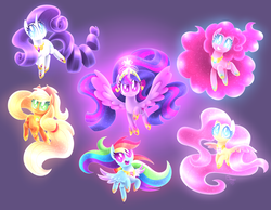 Size: 4500x3499 | Tagged: alicorn, applejack, artist:siggie740, big crown thingy, cute, dashabetes, diapinkes, elements of harmony, fluttershy, jackabetes, jewelry, looking at you, mane six, pinkie pie, rainbow dash, raribetes, rarity, regalia, safe, shyabetes, smiling, twiabetes, twilight sparkle, twilight sparkle (alicorn)