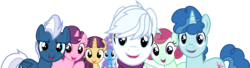 Size: 11048x3000 | Tagged: safe, artist:dashiesparkle, amethyst skim, double diamond, ivy vine, night glider, party favor, sugar belle, trixie, pony, unicorn, to where and back again, absurd resolution, cape, clothes, compilation, cropped, equal four, female, group, hat, high res, looking at you, male, mare, offscreen character, panorama, pov, simple background, smiling, stallion, transparent background, trixie's cape, trixie's hat, vector