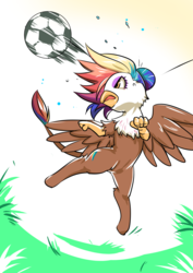 Size: 990x1400 | Tagged: safe, artist:bakki, oc, oc only, oc:rainbow feather, griffon, commission, female, football, interspecies offspring, magical lesbian spawn, multicolored hair, offspring, parent:gilda, parent:rainbow dash, parents:gildash, solo