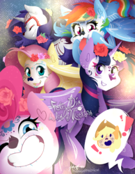 Size: 1166x1500 | Tagged: alicorn, applejack, artist:midnightpremiere, cute, dia de los muertos, face paint, female, flower, flower in hair, fluttershy, mane six, pinkie pie, pony, rainbow dash, rarity, safe, smiling, tongue out, twilight sparkle, twilight sparkle (